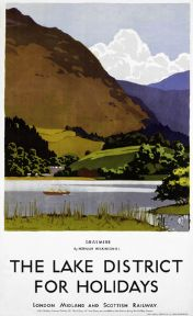 Grasmere, Lake District, Cumbria. Vintage LMS Travel poster by Norman Wilkinson